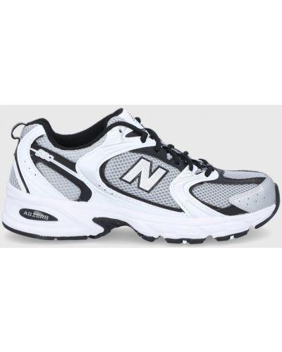 Sneakersy srebrne na obcasie sznurowane New Balance