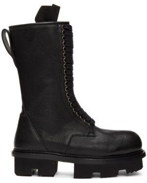 Ботинки на каблуке черные на шнуровке Rick Owens