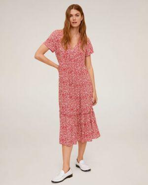 Платье мини с цветочным принтом с V-образным вырезом Mango