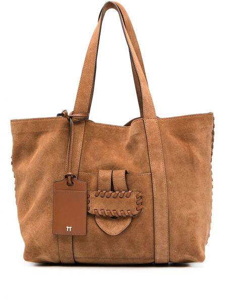 Кожаная коричневая сумка-тоут на молнии с карманами Tila March