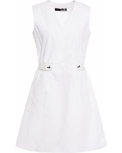Льняное белое платье мини с карманами Love Moschino
