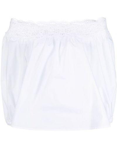 Хлопковая белая блузка с вырезом P.a.r.o.s.h.