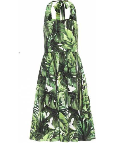 Ватное хлопковое зеленое платье миди Dolce & Gabbana