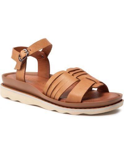 Sandały skórzane - brązowe Badura