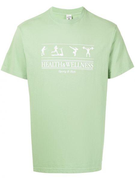 Зеленая хлопковая прямая футболка с вырезом Sporty And Rich