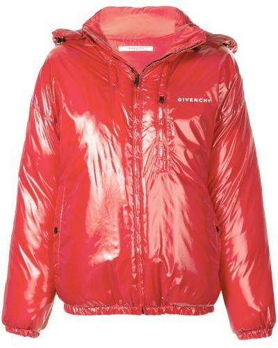 Красный пуховик с манжетами на молнии Givenchy