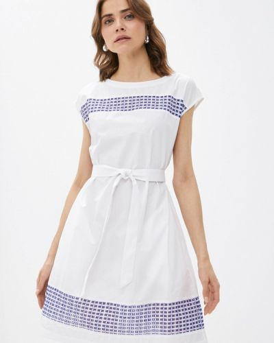 Прямое белое платье А-силуэта United Colors Of Benetton