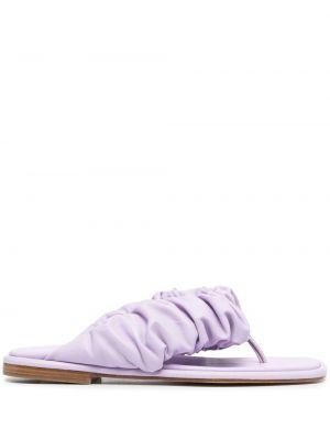 Фиолетовые кожаные открытые стринги Hereu