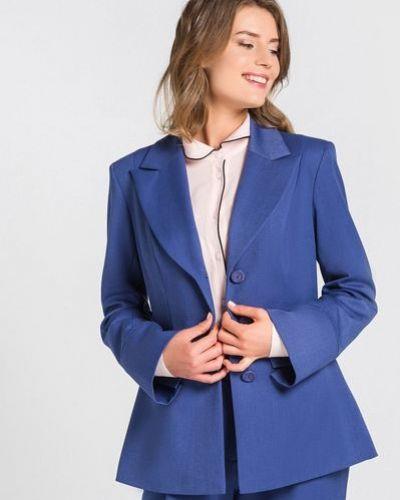 Повседневный синий классический пиджак с лацканами Vovk