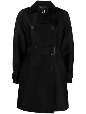 Klasyczny czarny płaszcz wełniany Emporio Armani
