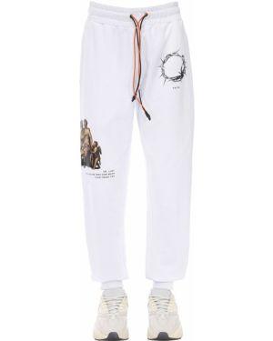 Prążkowane białe joggery bawełniane Ihs