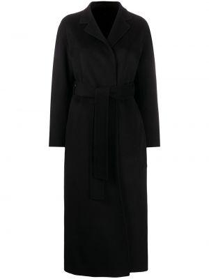 Z rękawami czarny wełniany długo płaszcz z kołnierzem Filippa K