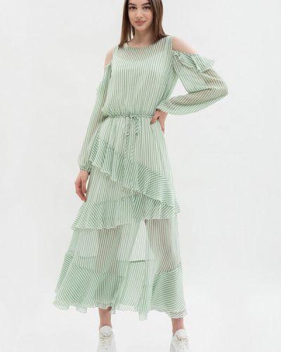 Зеленое платье со спущенными плечами Maxa