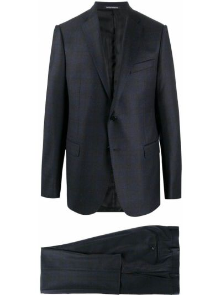 Klasyczny niebieski garnitur wełniany Emporio Armani