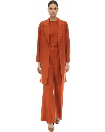 Оранжевое кашемировое пальто с лацканами Agnona