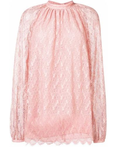 Блузка с длинным рукавом кружевная розовая Giamba