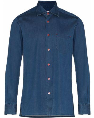 Джинсовая рубашка длинная - синяя Kiton