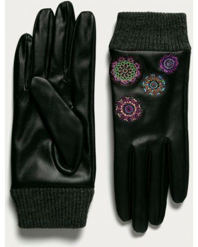 Czarne rękawiczki z akrylu Desigual