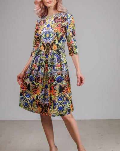 С рукавами приталенное платье со складками на молнии Lila Classic Style