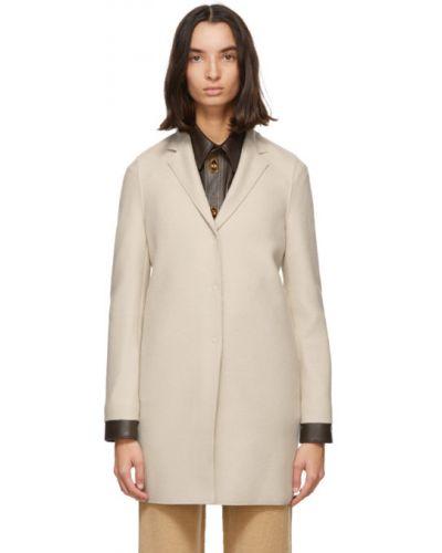 Шерстяное бежевое длинное пальто с воротником с лацканами Harris Wharf London