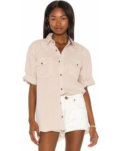 Хлопковая повседневная рубашка с карманами кремовая One Teaspoon