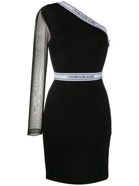 Облегающее черное облегающее платье на одно плечо из вискозы Calvin Klein Jeans