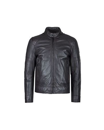 Коричневая кожаная куртка Strellson