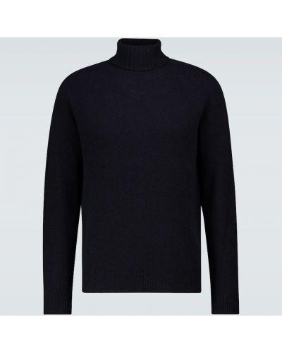С рукавами шерстяной синий свитер Sunspel