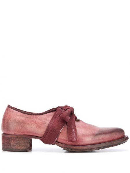 Бархатные красные кожаные туфли на шнуровке с острым носом Cherevichkiotvichki