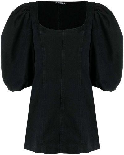 Прямое черное платье мини с короткими рукавами Wandering