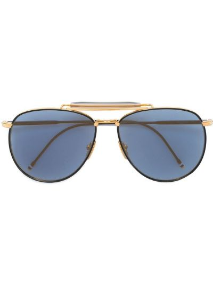 Золотистые солнцезащитные очки металлические хаки Thom Browne Eyewear