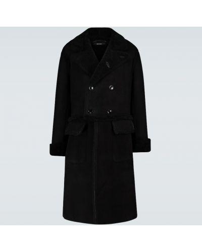 Skórzany czarny długi płaszcz prążkowany z klapami Tom Ford