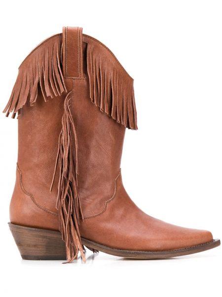 Коричневые кожаные ковбойские сапоги на каблуке P.a.r.o.s.h.
