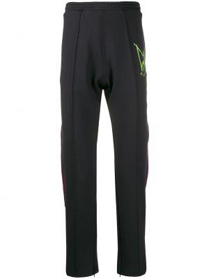 Czarne spodnie w paski wełniane Mjb Marc Jacques Burton