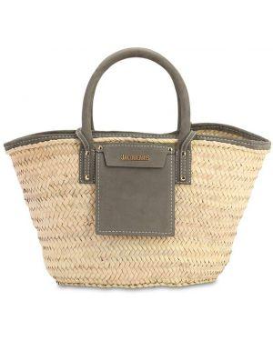 Кожаная соломенная серая кожаная сумка Jacquemus
