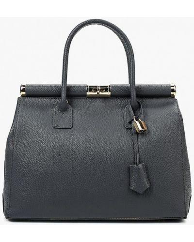 Серая сумка с ручками из натуральной кожи Roberta Rossi