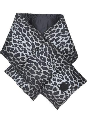 Стеганый пуховый черный шарф Moncler
