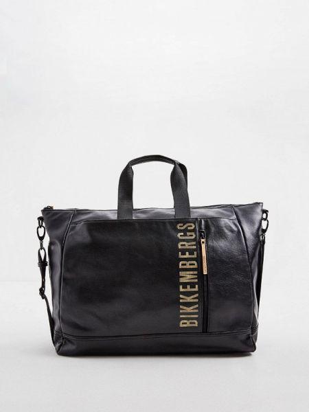 Дорожная сумка кожаная черная Bikkembergs