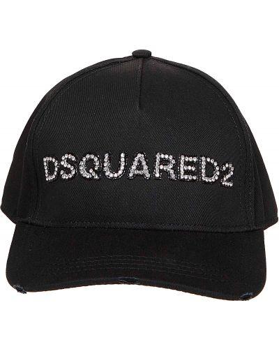 Czarna czapka na lato Dsquared