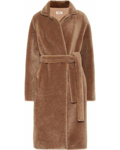Пушистое коричневое шерстяное пальто Yves Salomon