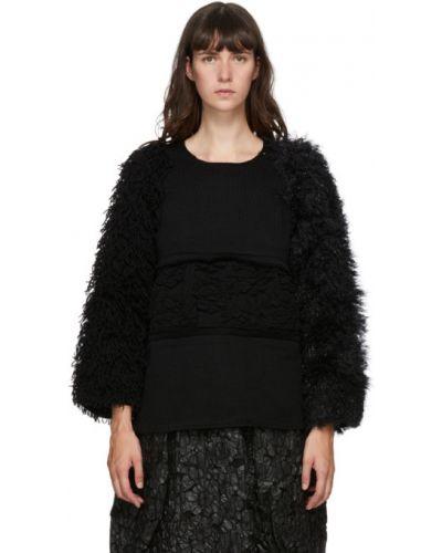 Черный шерстяной длинный свитер с воротником Comme Des Garçons