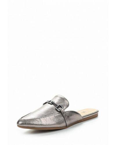 Сабо кожаные серебряного цвета Keddo