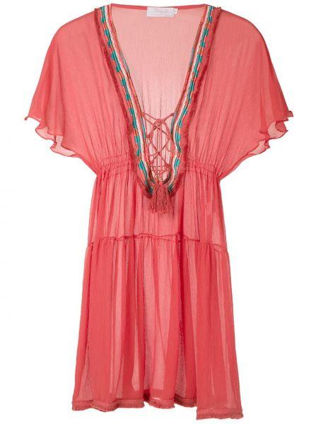 Шелковое платье мини - красный Brigitte