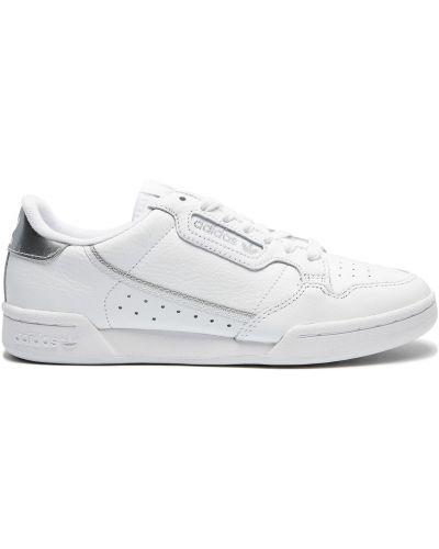 Кожаные белые кеды с подкладкой Adidas