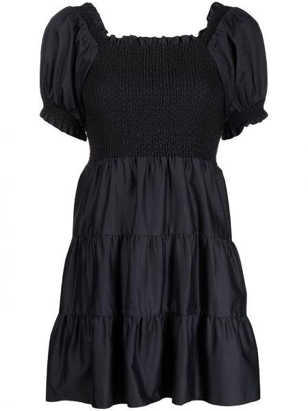 Черное хлопковое платье с короткими рукавами Alice+olivia