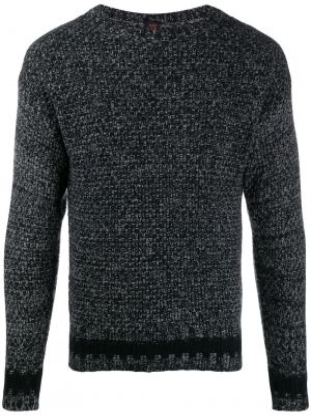 Czarny sweter wełniany z długimi rękawami Mp Massimo Piombo