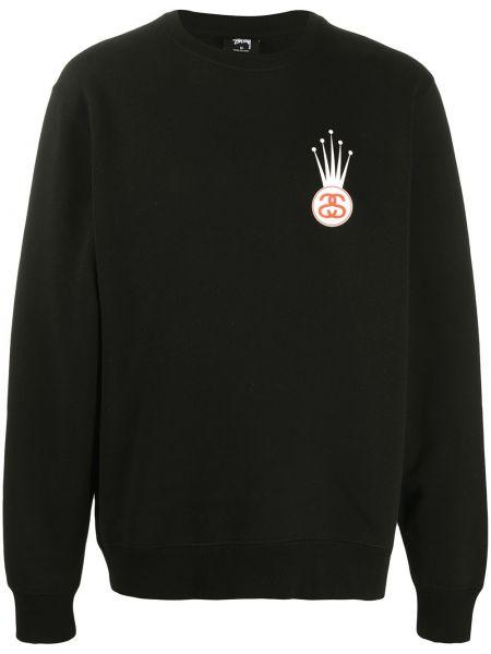 Bawełna czarny bluza z mankietami okrągły dekolt Stussy