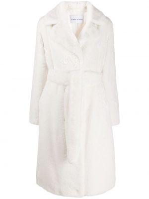 Белое длинное пальто с воротником Stand
