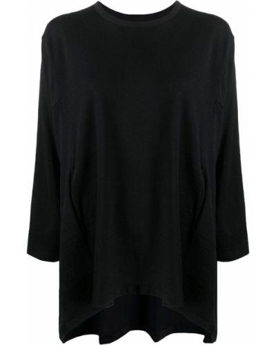 Шерстяной с рукавами черный джемпер круглый Yohji Yamamoto