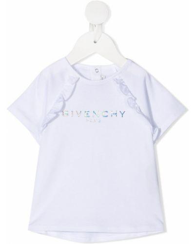 Белая блузка с короткими рукавами с вышивкой Givenchy Kids